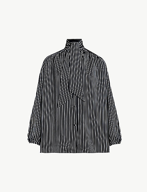 BALENCIAGA Striped tie-neck woven shirt