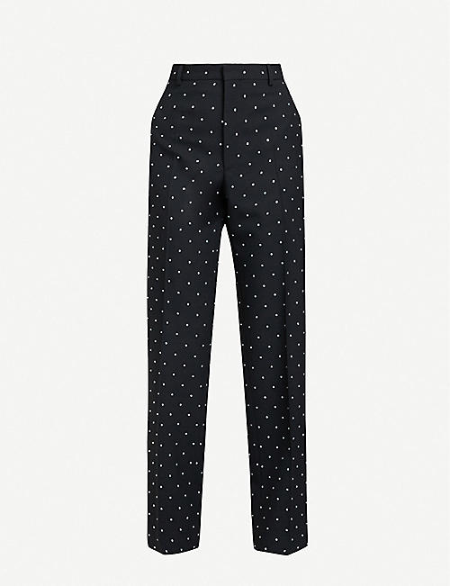 BALENCIAGA: Diamanté-embellished straight high-rise wool-gabardine trousers