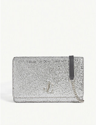 JIMMY CHOO: Palace glitter shoulder bag