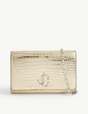 JIMMY CHOO Varenne croc-embossed leather clutch bag