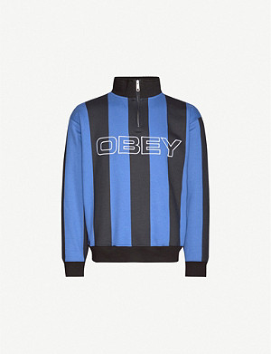 OBEY Football striped cotton-blend sweatshirt