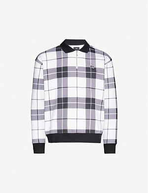 OBEY Logo-embroidered checked cotton-blend jumper