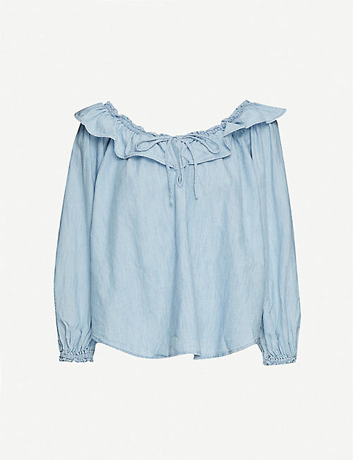 FREE PEOPLE Lily of the Valley denim top