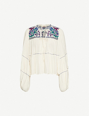 FREE PEOPLE In Vivid Color crepe top
