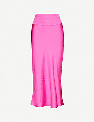 FREE PEOPLE: Normani bias satin-crepe midi skirt