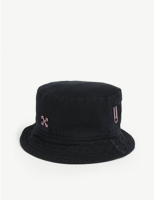 OFF-WHITE C/O VIRGIL ABLOH: Arrow and paperclip motif cotton bucket hat