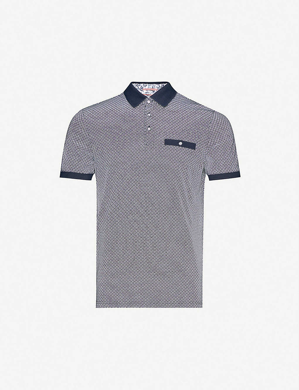 TED BAKER: Geo-printed cotton-jersey polo shirt