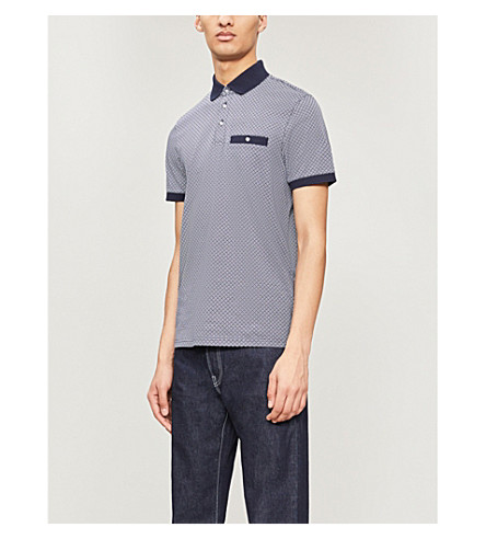 Ted Baker Cottons GEO-PRINTED COTTON-JERSEY POLO SHIRT