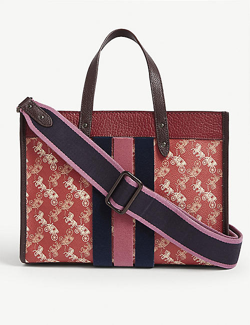 COACH 1941 felt striped leather tote