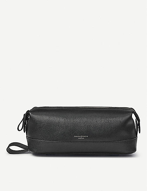 ASPINAL OF LONDON: Classic zipped leather washbag