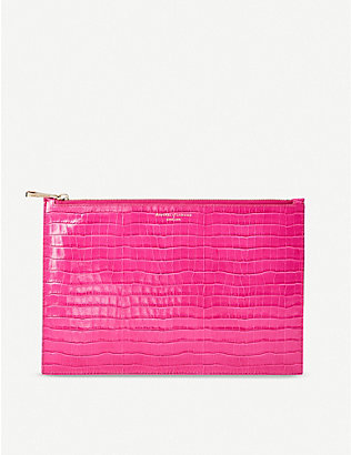 ASPINAL OF LONDON: Essential small croc-embossed leather pouch