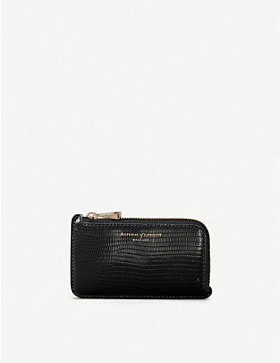 ASPINAL OF LONDON: Lizard-embossed zipped leather coin purse