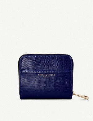 ASPINAL OF LONDON Slim Mini Continental lizard-embossed leather purse