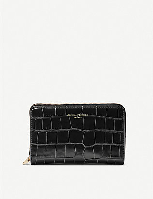 ASPINAL OF LONDON: Midi Continental croc-embossed leather clutch wallet