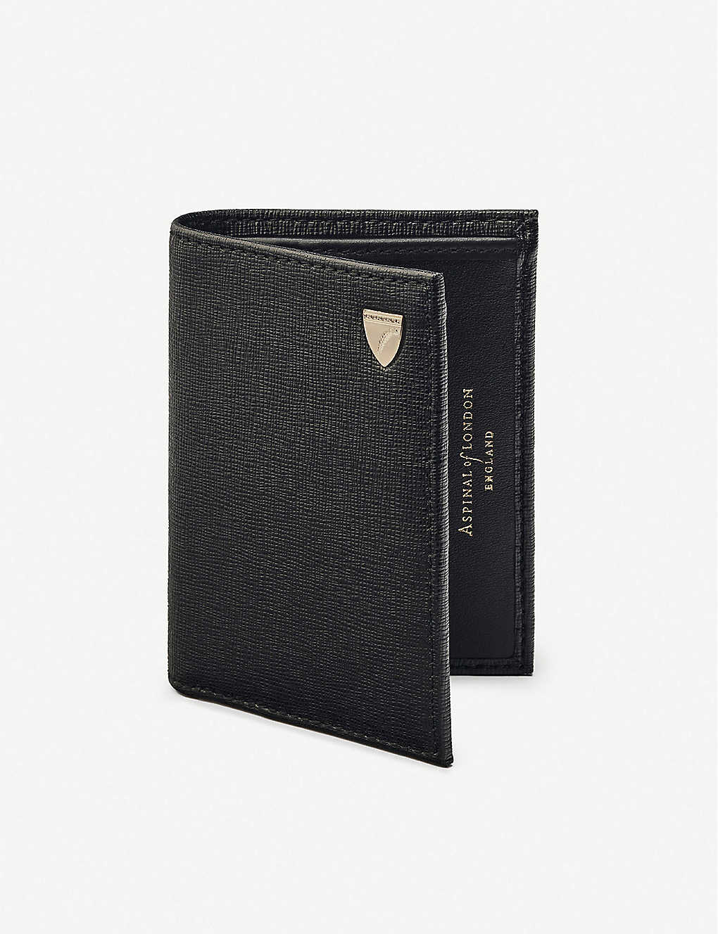 ASPINAL OF LONDON: Pocket & Shield saffiano leather card holder wallet