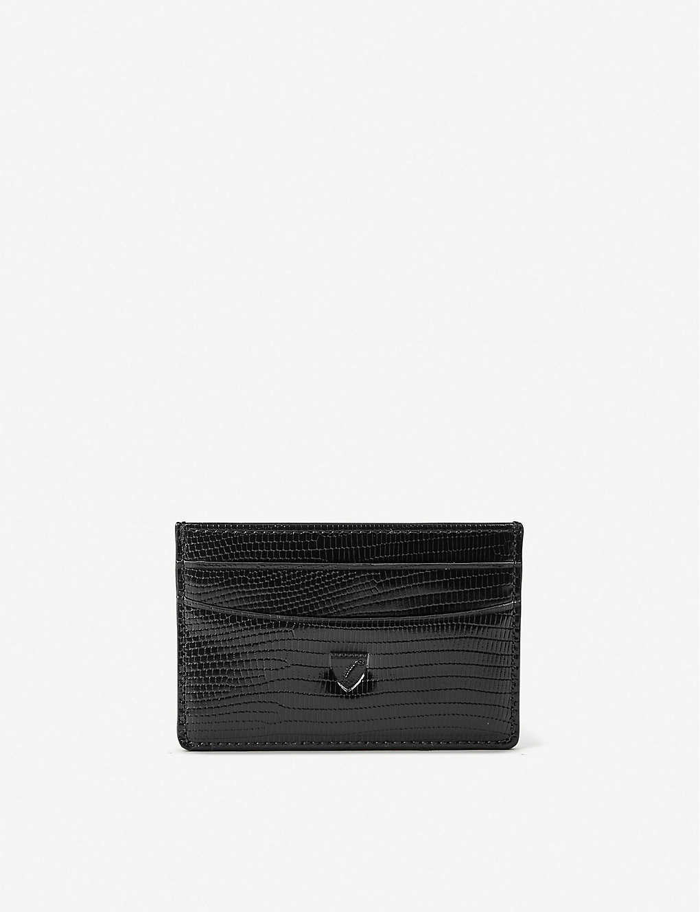 ASPINAL OF LONDON: Lizard-embossed leather credit card holder