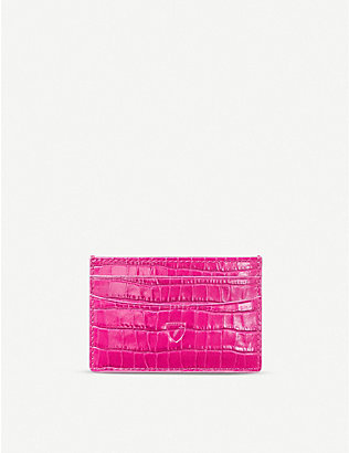 ASPINAL OF LONDON: Croc-embossed slim leather card wallet