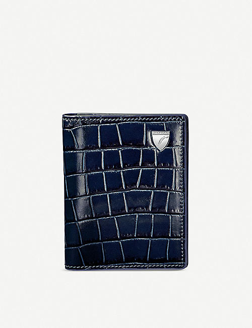 ASPINAL OF LONDON: Snake-embossed ID and travel card leather case