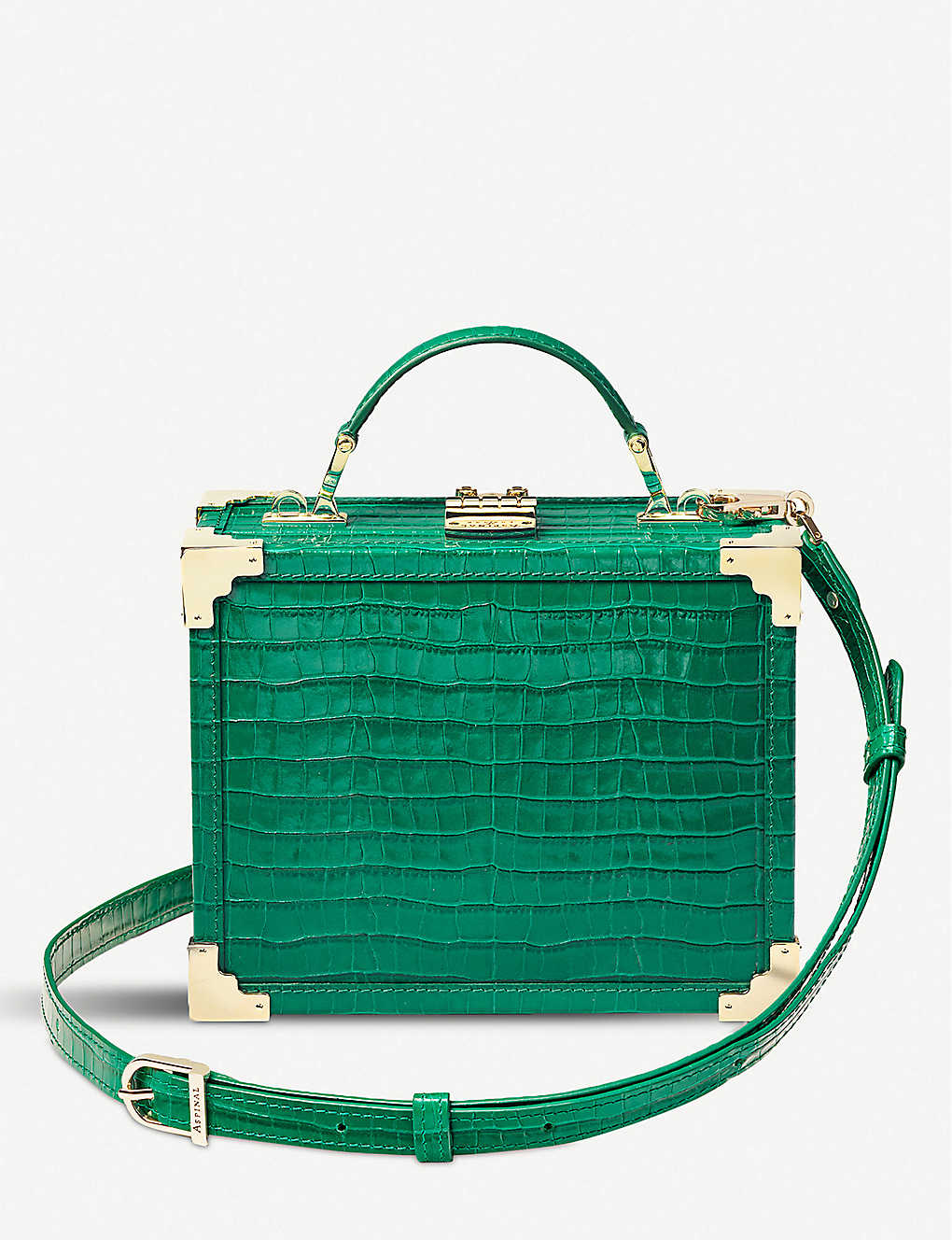 ASPINAL OF LONDON: The Trunk croc-embossed leather bag