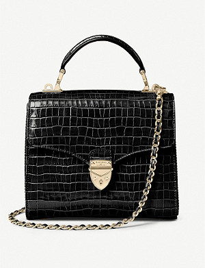 ASPINAL OF LONDON Mayfair Midi Black Croc Chain Strap
