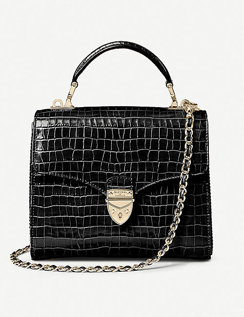 ASPINAL OF LONDON: Mayfair Midi Black Croc Chain Strap
