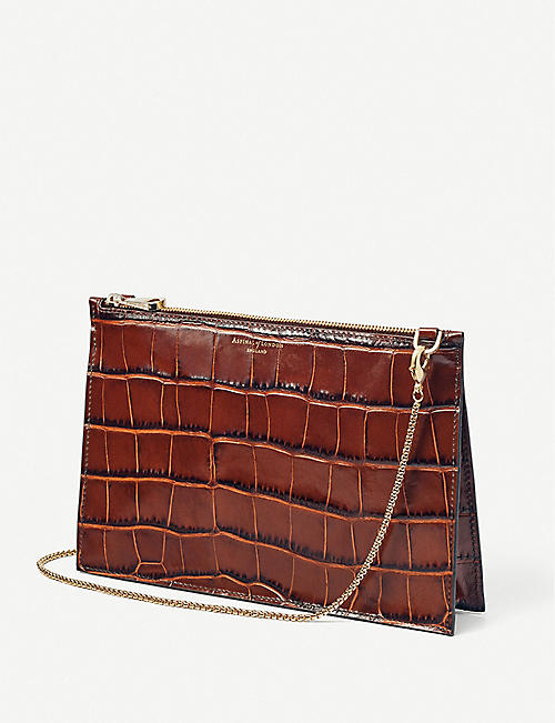 ASPINAL OF LONDON Soho crocodile-embossed leather clutch