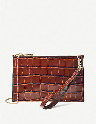 ASPINAL OF LONDON: Soho crocodile-embossed leather clutch