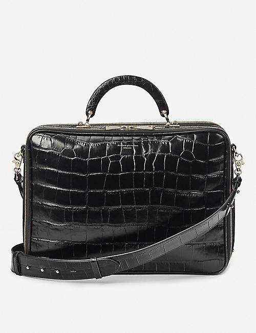 ASPINAL OF LONDON: London croc-embossed leather document case