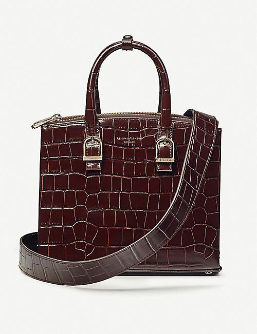 ASPINAL OF LONDON Madison midi croc-embossed leather tote bag