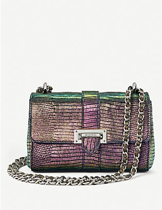 ASPINAL OF LONDON: Lottie iridescent lizard-embossed leather belt bag