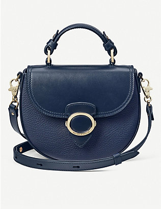 ASPINAL OF LONDON: Smooth leather crossbody saddle bag