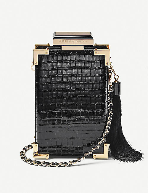 ASPINAL OF LONDON: Sabine crocodile-embossed leather clutch bag