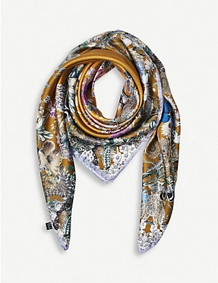 ASPINAL OF LONDON: Ombré 'A' floral silk scarf 90cm x 90cm