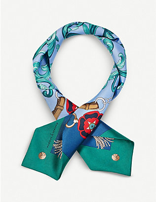 ASPINAL OF LONDON: Signature-print silk scarf 85cm x 9.3cm