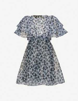TOPSHOP Floral-print organza mini dress