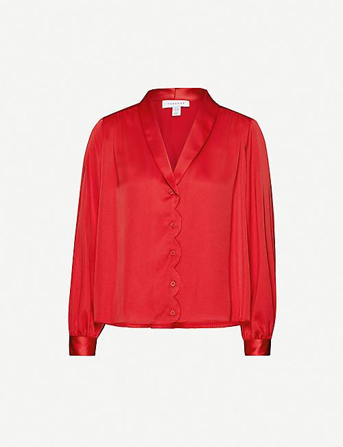 TOPSHOP Scalloped satin shirt