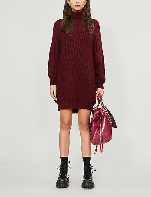 TOPSHOP Rib-knitted high neck jumper dress