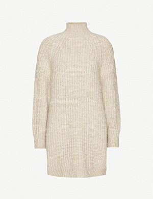 TOPSHOP Rib-knitted funnel neck jumper dress