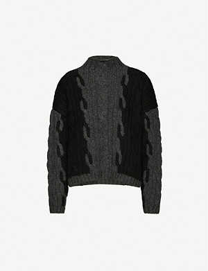 TOPSHOP Plaited-pattern knitted jumper