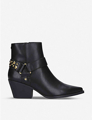 KG KURT GEIGER: Tick stud-embellished faux-leather ankle boots