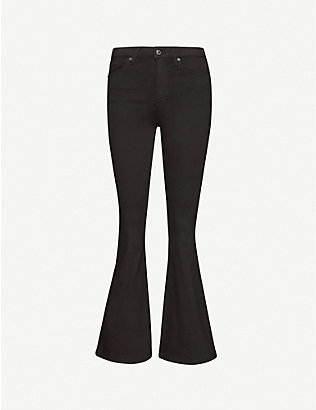 TOPSHOP: Cropped flared high-rise jeans