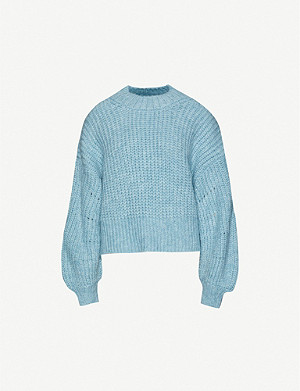 TOPSHOP Balloon-sleeve dropped-shoulder stretch-knit jumper