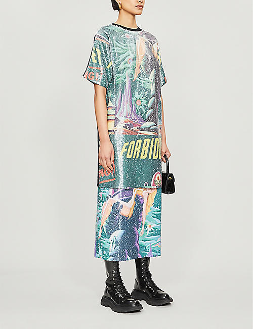RAGYARD Graphic-print sequin and cotton dress