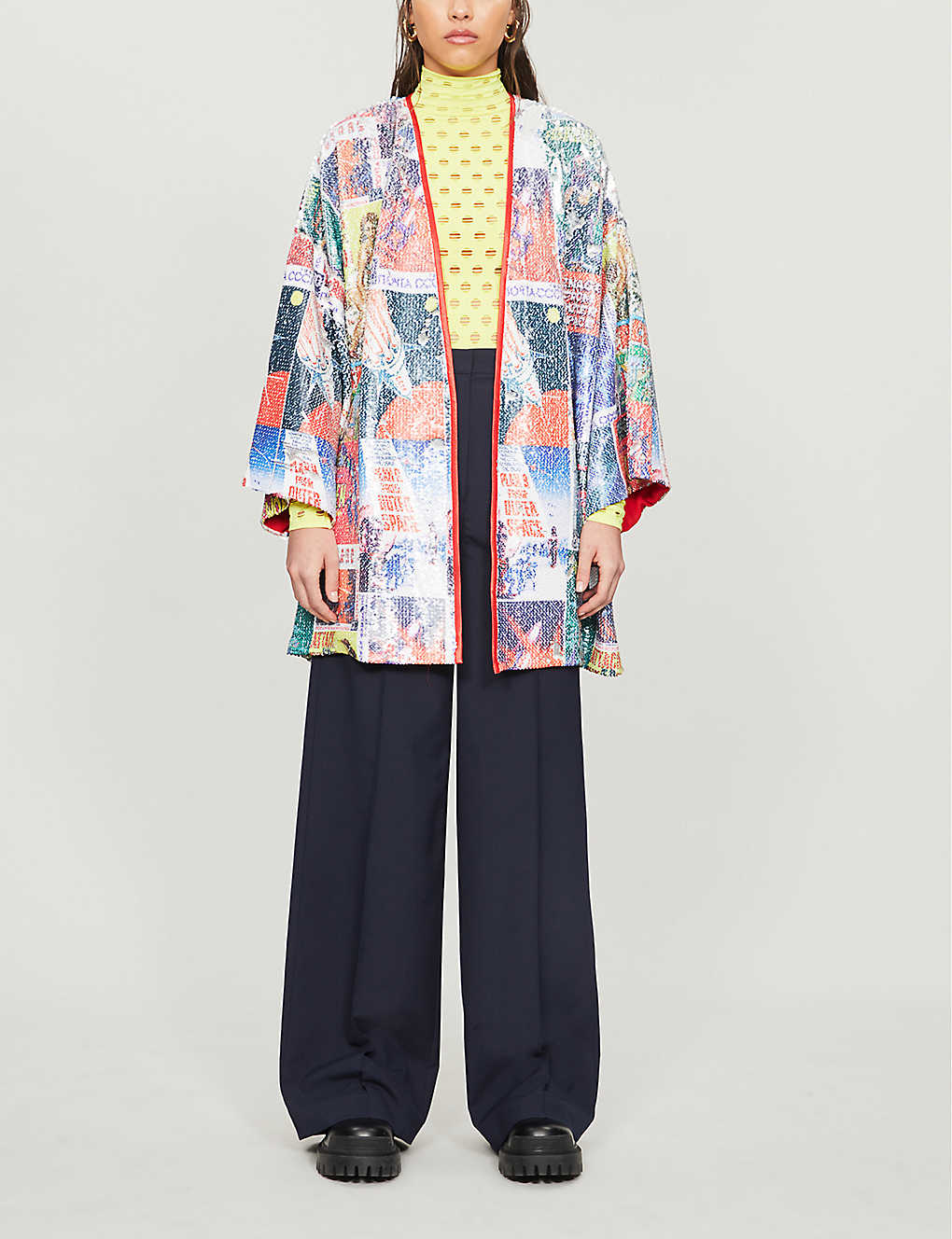 RAGYARD: Graphic-print sequinned jacket