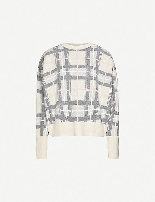 LE KASHA: Check-print relaxed-fit cashmere jumper