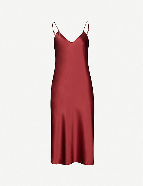 NILI LOTAN V-neck silk midi dress