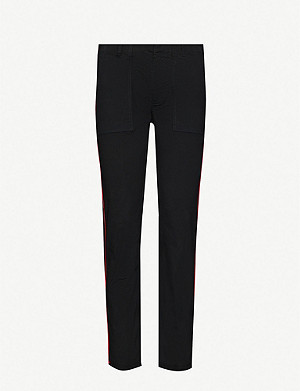 NILI LOTAN Jenna piped straight high-rise stretch-cotton trousers