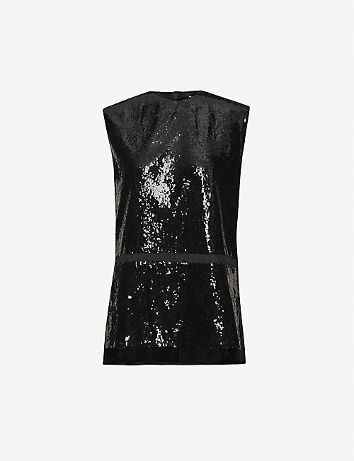 YANG LI Sleeveless contrast-panel sequins top