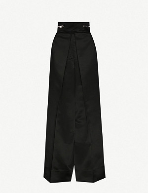 YANG LI High-rise pleated wide-fit satin-crepe trousers