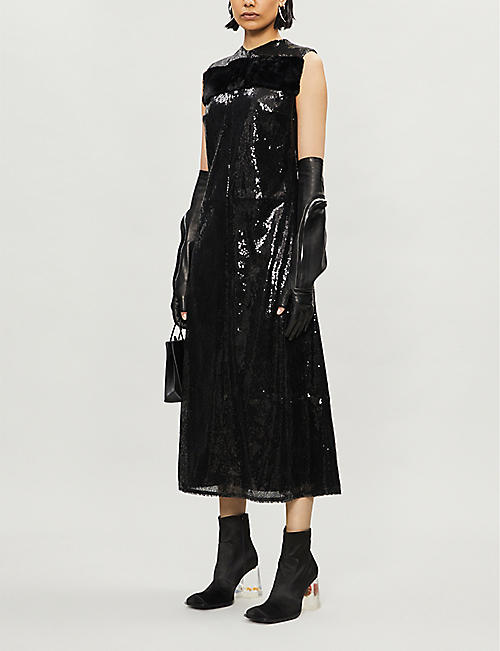 YANG LI Sleeveless embellished-pattern sequins midi dress